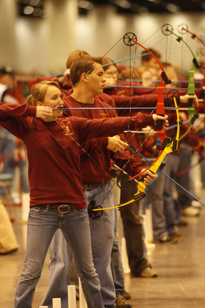 youth archers at indoor tournament